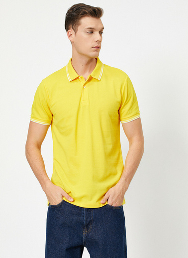 Koton Polo Yaka Kol ve Yaka Ucu Çizgili Slim Fit T-Shirt Sarı